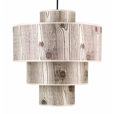 Deco 1-Light Drum Pendant Shade: Faux Bois Light