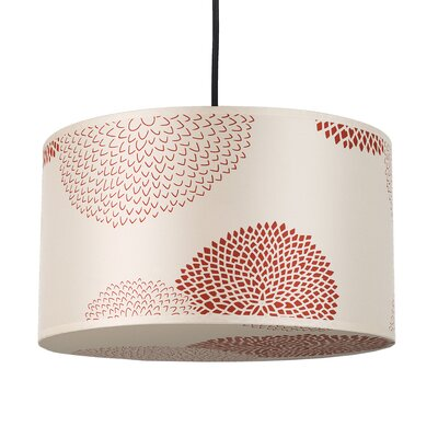 Meridian 1-Light Medium Drum Pendant Shade Color: Red Mumm