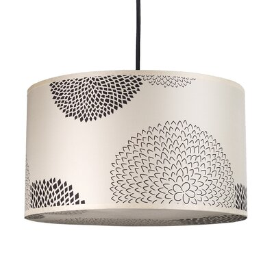 Meridian 1-Light Medium Drum Pendant Shade Color: Faux Bois Light