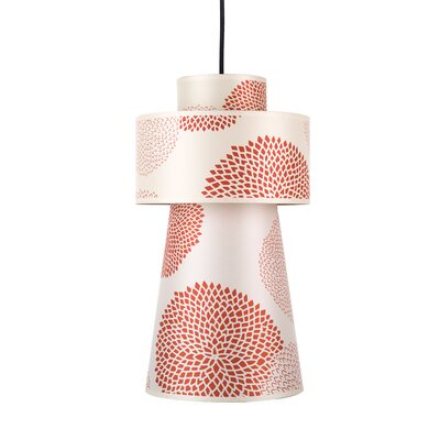 Lucy 1-Light Pendant Shade Color: Red Dupioni