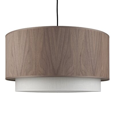 2-Light Drum Pendant Shade Color: Walnut Wood / Brussels Linen