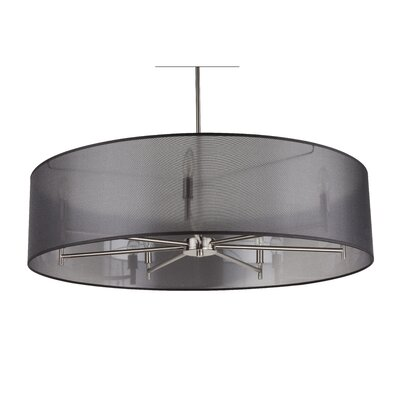 Walker 7-Light Drum Pendant Shade Color: Metallic White & Gold