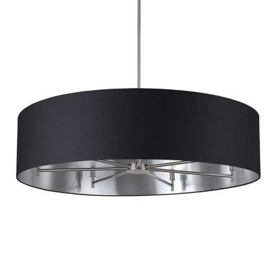 Walker 7-Light Drum Pendant Shade Color: Metallic Black & Silver