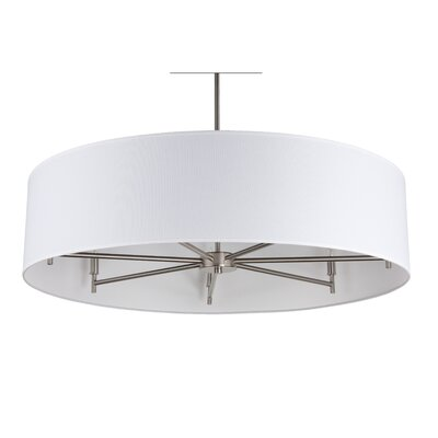 Walker 7-Light Drum Pendant Shade Color: White Linen