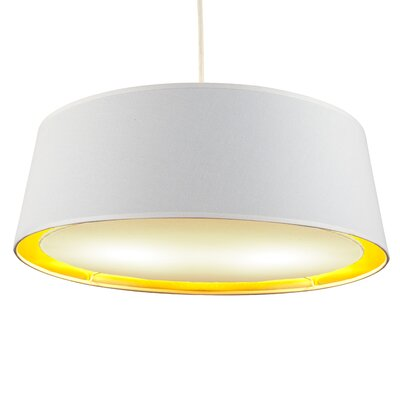 Weegee 2-Light Drum Pendant Shade Color: Metallic White and Gold
