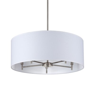 Walker 5-Light Drum Chandelier Base Finish: Brushed Nickel, Shade Color: White Linen