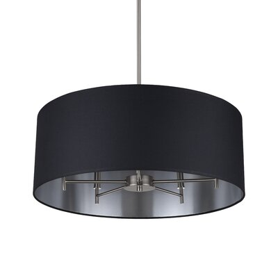 Walker 5-Light Drum Chandelier Base Finish: Brushed Nickel, Shade Color: Metallic Black & Silver