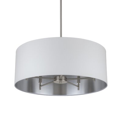 Walker 5-Light Drum Chandelier Base Finish: Brushed Nickel, Shade Color: Metallic White & Silver