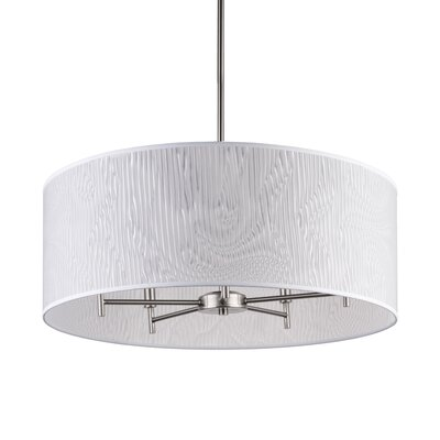 Walker 5-Light Drum Chandelier Base Finish: Brushed Nickel, Shade Color: Optical Poly Film