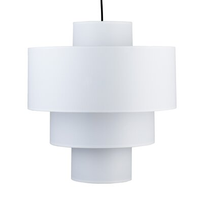 Deco 1-Light Drum Pendant Shade: White Linen