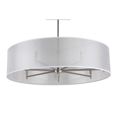 Walker 7-Light Drum Pendant Shade Color: Silver Organza