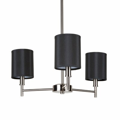 Walker 3-Light Candle-Style Chandelier Finish: Black Powder Coat, Shade Color: White Ribbed Poly