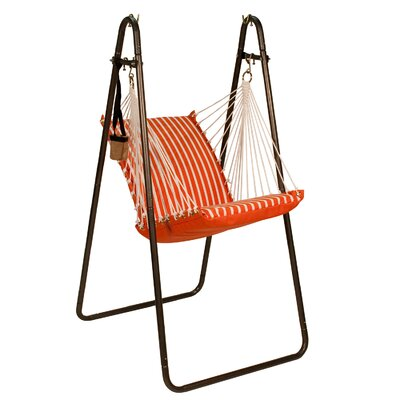 Sunbrella and Polyester Chair Hammock with Stand Color: Melon