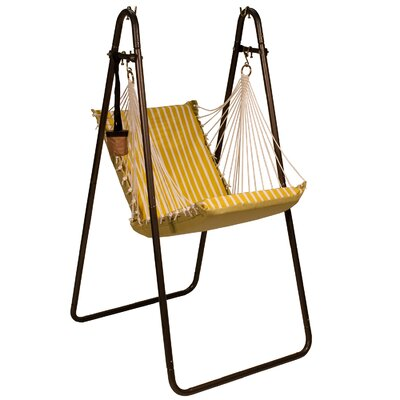 Sunbrella and Polyester Chair Hammock with Stand Color: Citron