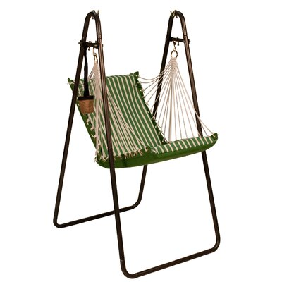 Sunbrella and Polyester Chair Hammock with Stand Color: Emerald