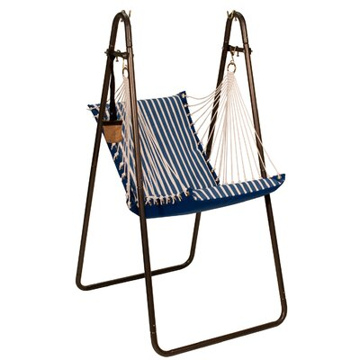 Sunbrella and Polyester Chair Hammock with Stand Color: Regatta