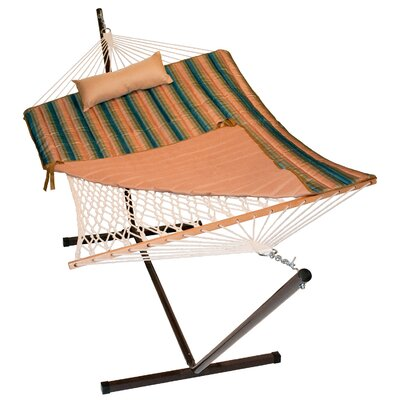 4 Piece Rope Cotton Hammock with Stand Set