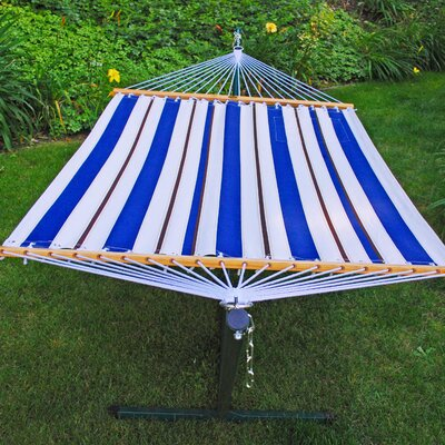 11' Blue and White Stripe Fabric Hammock with Beige Stand