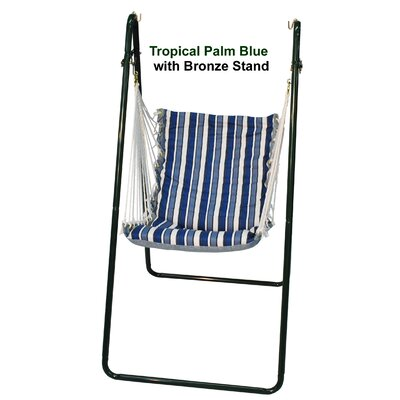 Polyester Chair Hammock with Stand Stand Color: Bronze, Fabric Color: Tropical Palm Blue