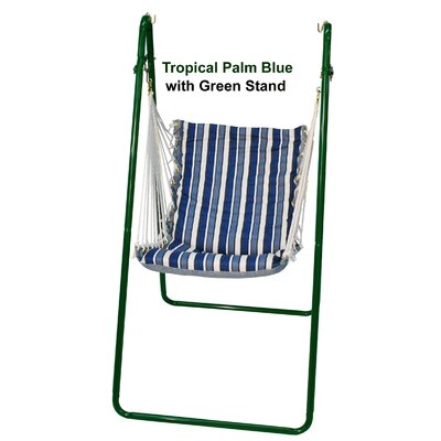 36Hammock Chair and Stand Stand Color: Green, Fabric Color: Tropical Palm Blue