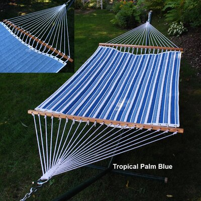 Reversible Quilted Polyester Tree Hammock Color: Palm Stripe Blue/Powder Blue