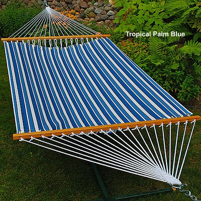 Polyester Tree Hammock Color: Palm Stripe Blue, Size: 13