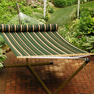 Quilted Polyester Tree Hammock Color: Green/Tan Stripe