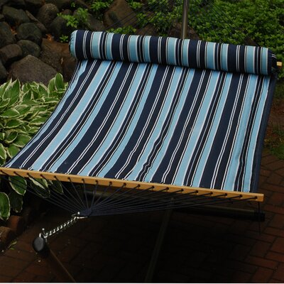 Quilted Polyester Tree Hammock Color: Navy Blue Stripe