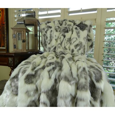 Rabbit Fur Handmade Throw Size: 90 L x 90 W