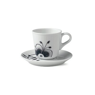 Royal Copenhagen Black Fluted Mega 3.04 oz. Espresso Cup and Saucer 1017017
