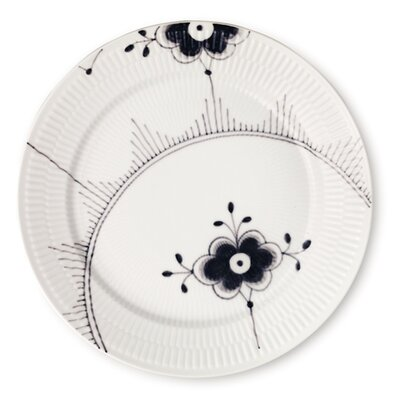 Black Fluted Mega 10.75 Dinner Plate With Two Flower Motifs