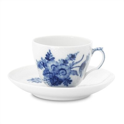 Blue Flower Curved 6 Oz Coffee Cup And Saucer