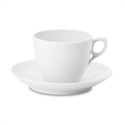 White Half Lace 5.75 Oz Coffee Cup And Saucer