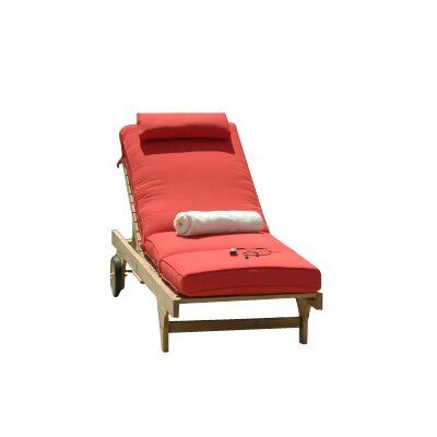 Boxed Outdoor Chaise Lounger Cushion Fabric: Antique Beige
