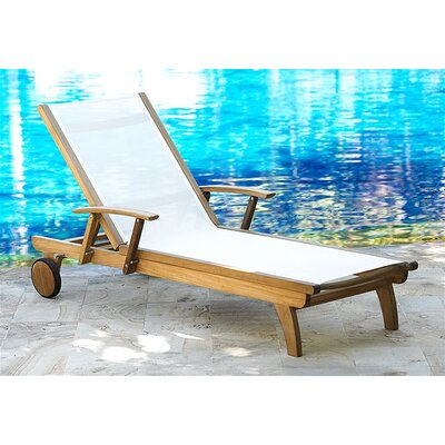 Teak Riviera Lounger Fabric Color: White