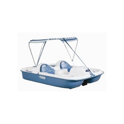 Cheap Pelican Monaco Deluxe Four Person Pedal Boat with White Deck and Blue Hull with Canopy (HHA25P206)