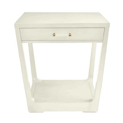 Oasis Meridian End Table with Storage Color: Saltbox White