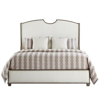 Oasis Upholstered Panel Bed Size: King, Color: Grey Birch