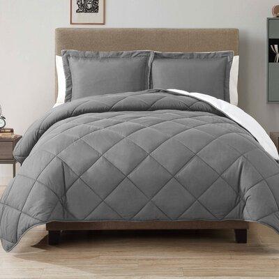 Caribbean Joe Comforter Set Color: Gray, Size: Full / Queen