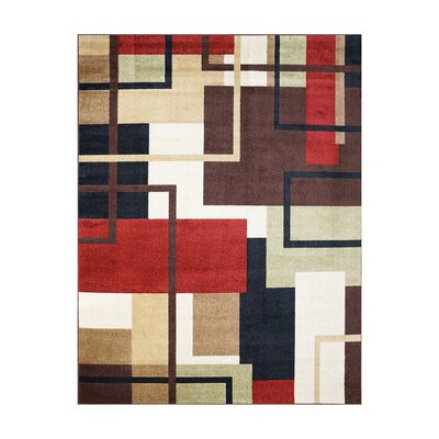 Adan Red/Black Indoor/Outdoor Area Rug Rug Size: Rectangle 53 x 7