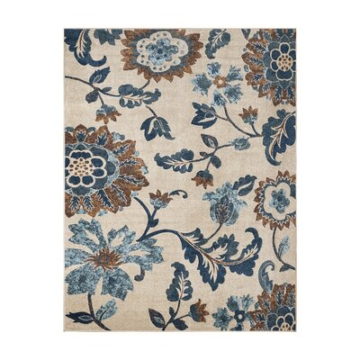 Alvah Ivory/Blue Indoor/Outdoor Area Rug Rug Size: Rectangle 710 x 10