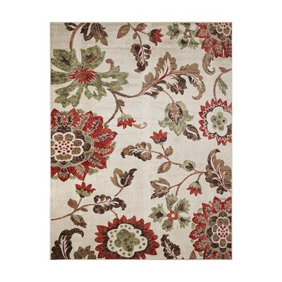 Amber Ivory/Red Indoor/Outdoor Area Rug Rug Size: Rectangle 53 x 7