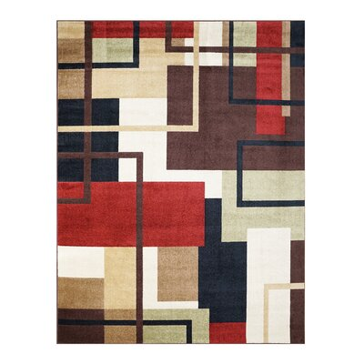 Rockaway Brown/Red Indoor/Outdoor Area Rug
