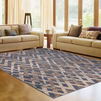 Chevron Steel Blue Area Rug Rug Size: 53 x 77