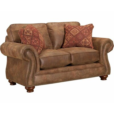 Laramie Loveseat Style: Nailhead Trim, Frame Finish: Oak Stain