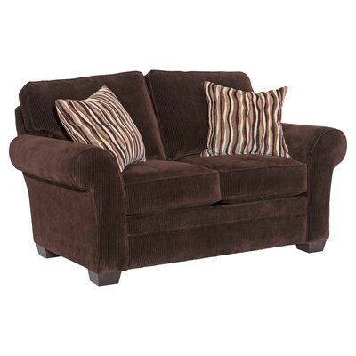 Zachary Loveseat Upholstery: Dark Brown