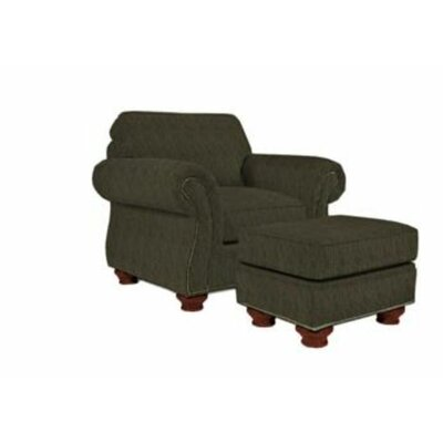 Laramie Armchair and Ottoman Nailhead Detail: Nailhead Trim, Color: Oak Stain