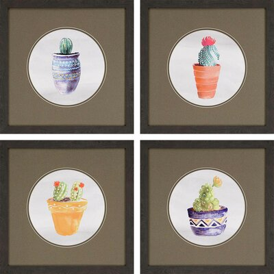 'Cactus' 4 Piece Framed Painting Print Set