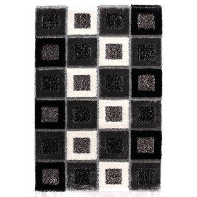 Signature Square Black Shag Rug Rug Size: 53 x 77