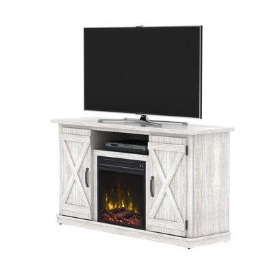 Serein 48 TV Stand with Fireplace Color: White Oak